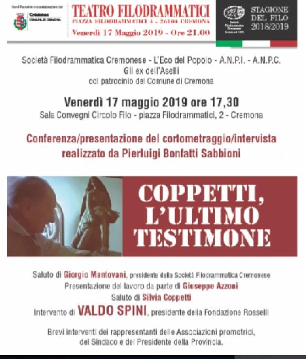 L'ECOSTORIA  Presentazione cortometraggio  'Coppetti ultimo testimone' alla presenza di Valdo Spini