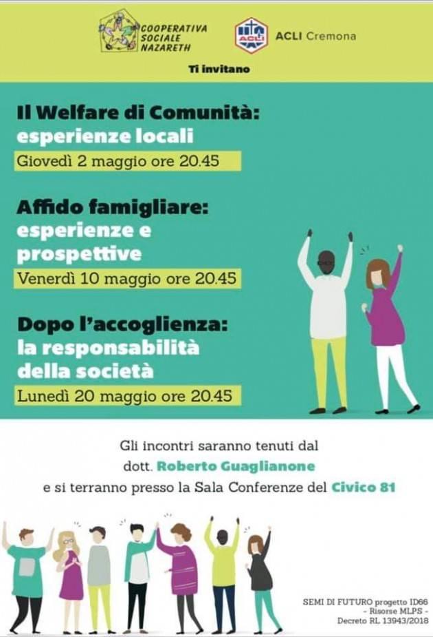 Acli Cremona  ' Welfare di Comunità' sul tema accoglienza.