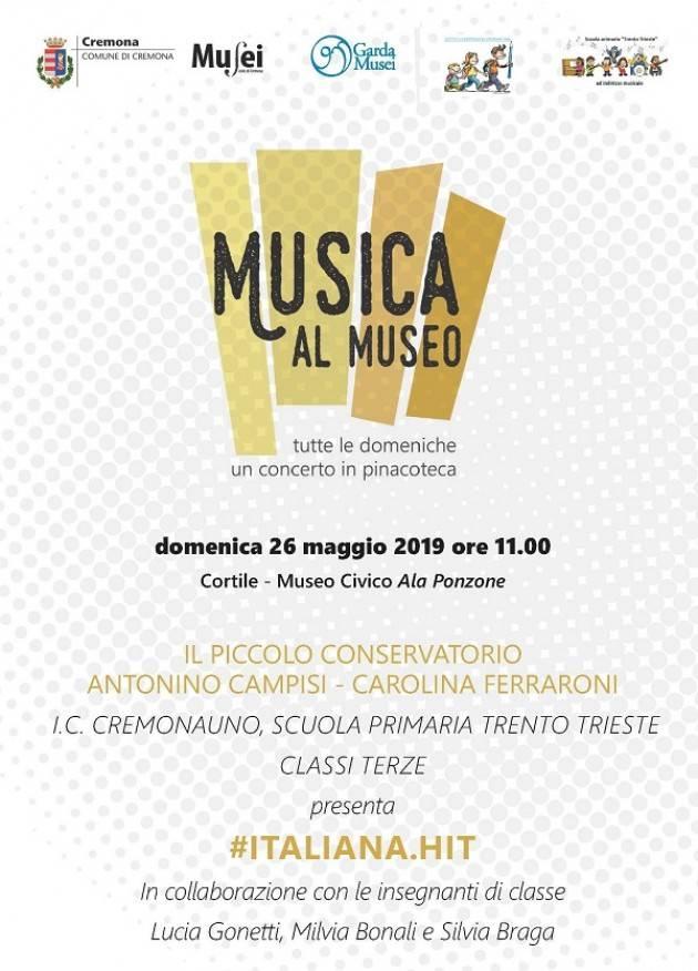 Cremona Con #ITALIANA.HIT gli allievi della primaria Trento e Trieste in scena al Museo Civico
