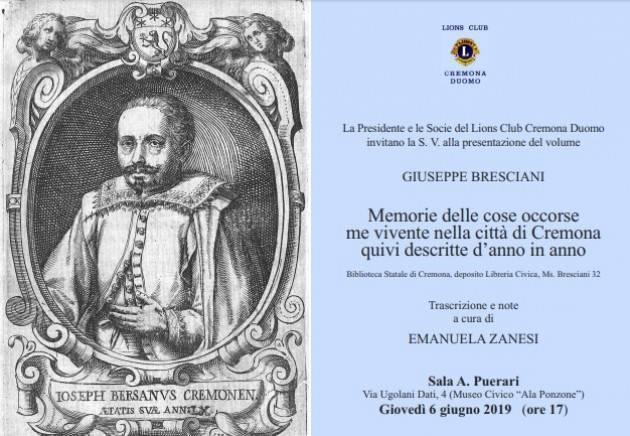 Memorie di Cremona di Giuseppe Bresciani dal 1625 al 1670 Evento del 6 giugno