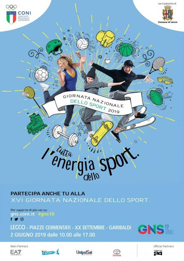 Domenica  2 giugno  Lecco festeggia la Giornata Nazionale dello Sport
