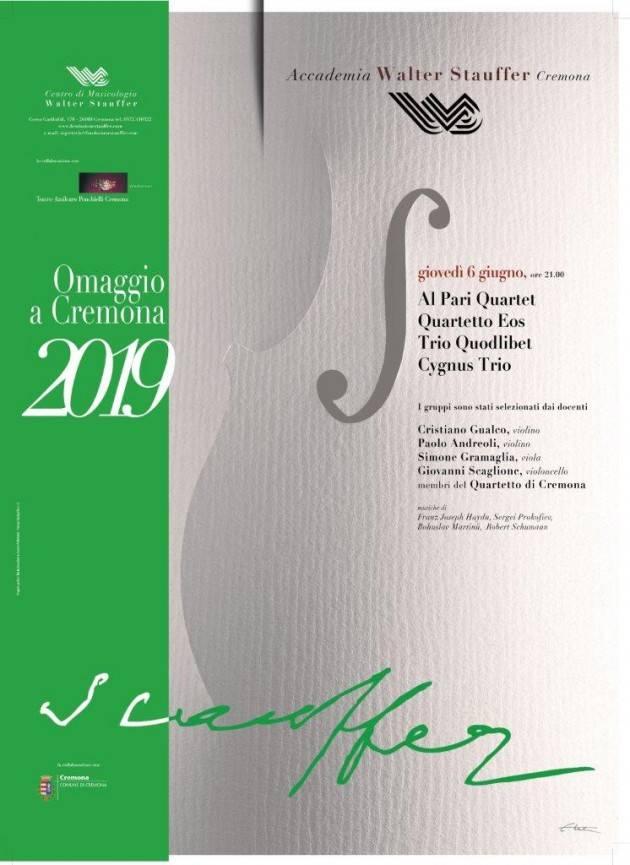 Omaggio a Cremona 2019 I Quartetti Accademia Stauffer giovedì 6 giugno