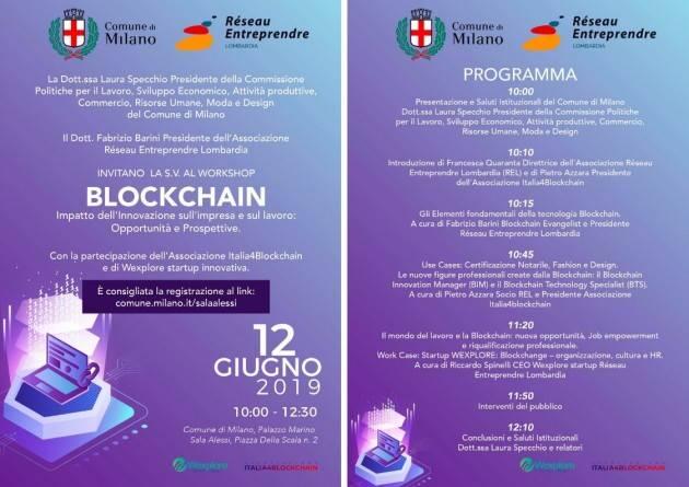 A Milano Workshop 'Blockchain' il 12 giugno