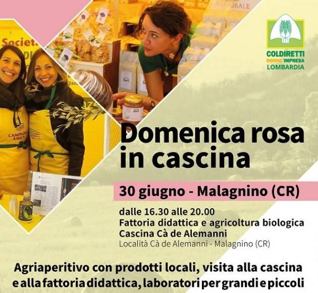 Coldiretti 'Domeniche rosa in cascina': appuntamento a Cà de Alemanni Il 30 giugno 2019, dalle ore 16.30