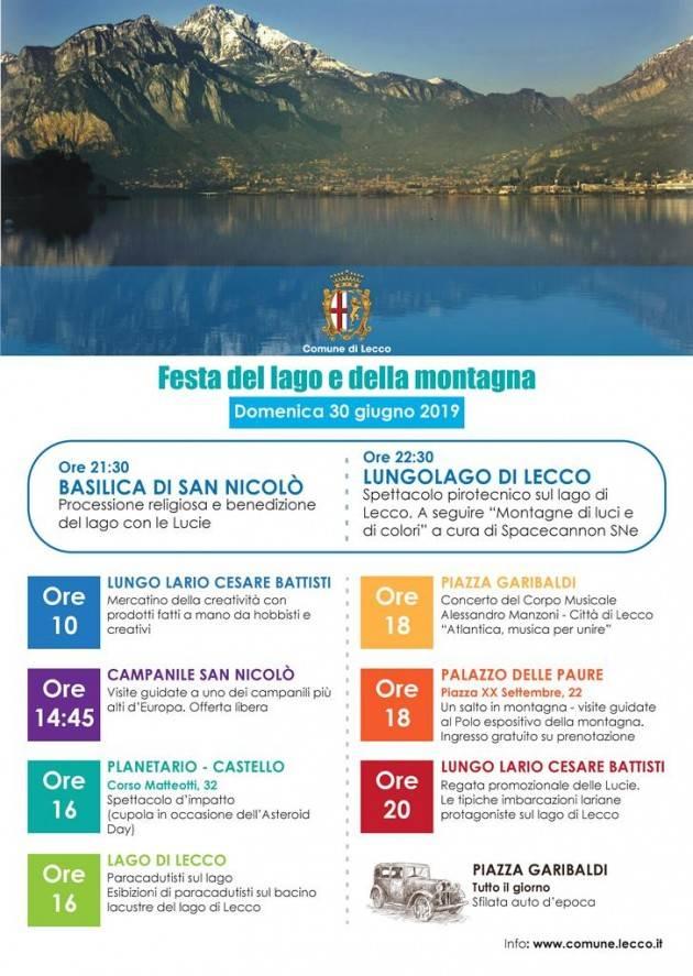 Domenica 30 giugno a Lecco la Festa del Lago e della Montagna