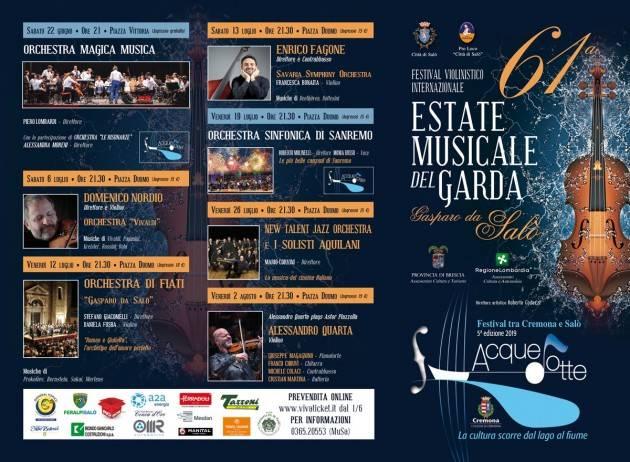 Salodium 61° Festival Internazionale Violinistico 'Gasparo da Salò' e alla 5^ edizione Acquedotte fino al 2 agosto 2019