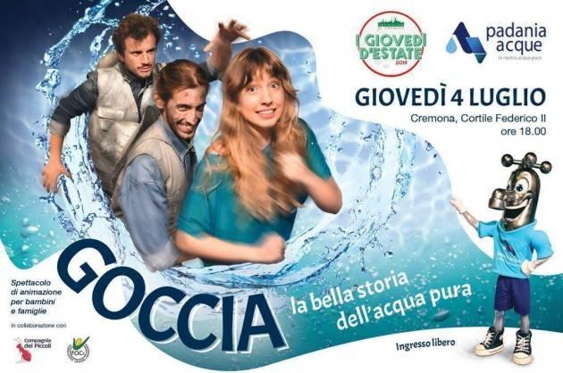 Padania Acque Cremona  è lieta di invitarvi allo spettacolo Goccia, la bella storia dell'acqua pura
