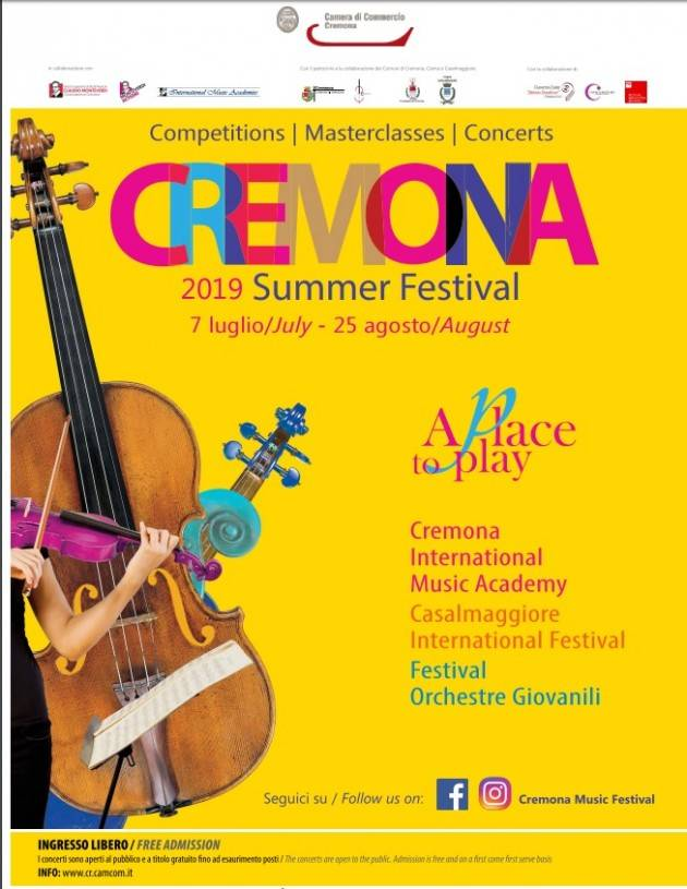 Summer Festival 2019  a Cremona, Crema e Casalmaggiore Eventi 20  luglio