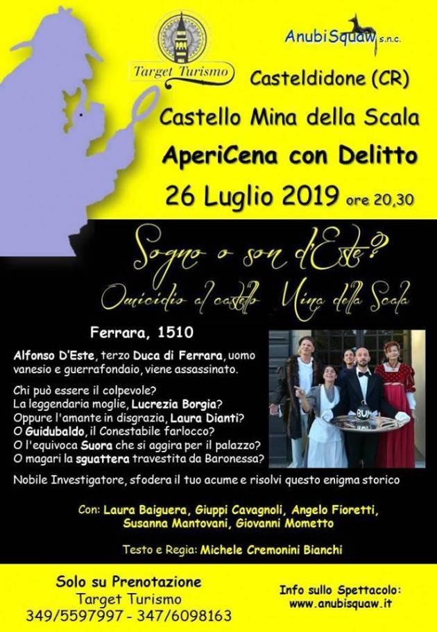 Appuntamenti estivi al Castello Mina Della Scala: Apericena con Delitto il 26 luglio