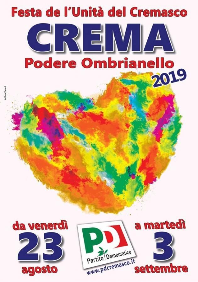 Crema FestaUnità Ombrianello dal 23 agosto al 3 settembre 2019 Partita la vendita dei biglietti la sottoscrizione a premi.