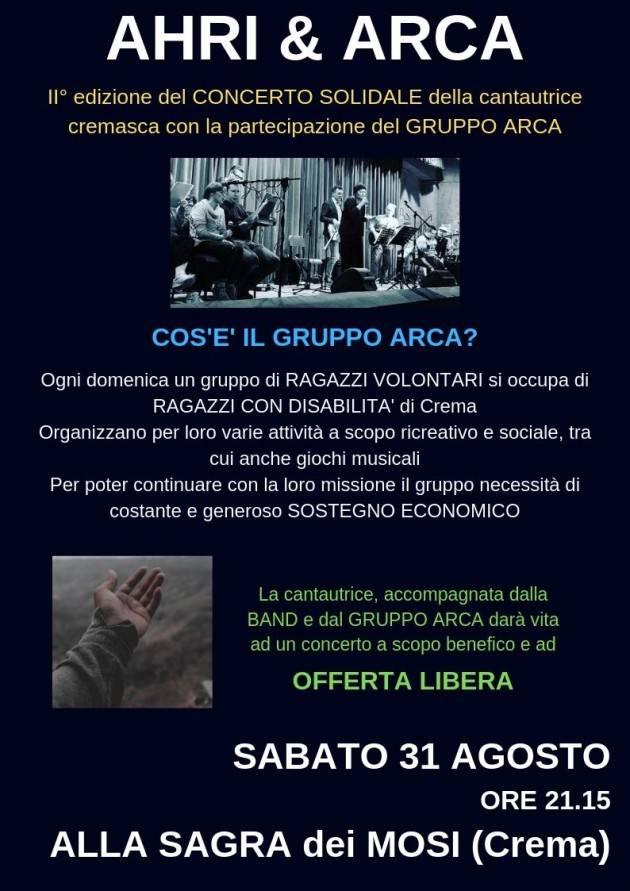 A Crema AHRI & ARCA 2° Edizione - concerti a sostegno delle disabilità il 31 agosto
