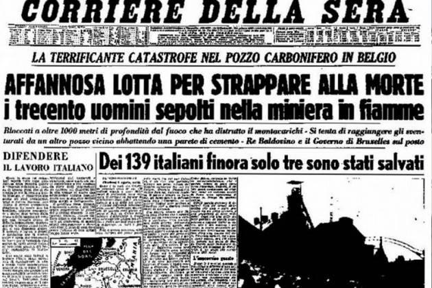Oggi, 8 agosto 2019, ricorre la 'Giornata del sacrificio del lavoro italiano nel mondo'