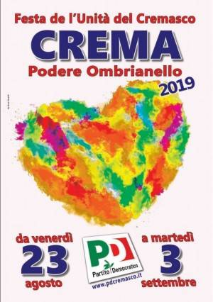 FESTEUNITA'2019  CREMA Ombranello Il programma di sabato 24  Nicola  Zingaretti ospite d'onore il 30
