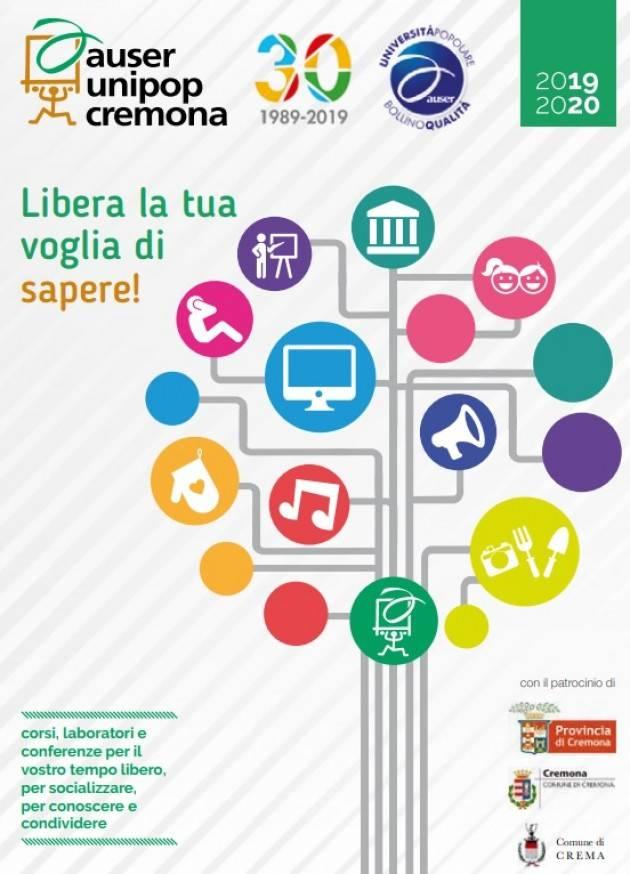 L'Auser Unipop Cremona informa che sono aperte le iscrizioni ai nuovi corsi in programma per l'anno 2019/20.