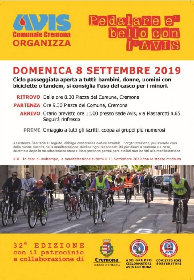 Pedalata con l'AVIS di Cremona spostata a domenica 15 settembre