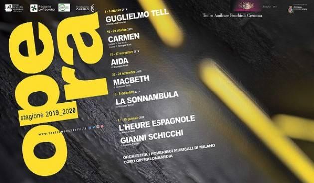 Al via la vendita dei singoli biglietti della Stagione d'Opera 2019/20 del Teatro Ponchielli