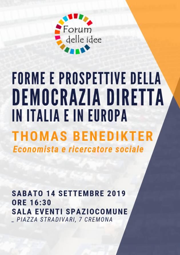 Thomas Benedikter A Cremona incontro su ' democrazia diretta in Italia e in Europa' il 14 settembre