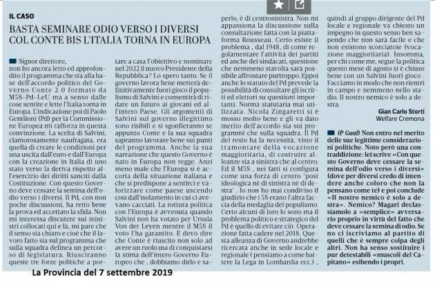 Il Governo Conte 2.0 di M5S-PD-LeU l'Italia ci fà tornare  in Europa | C.C.Storti