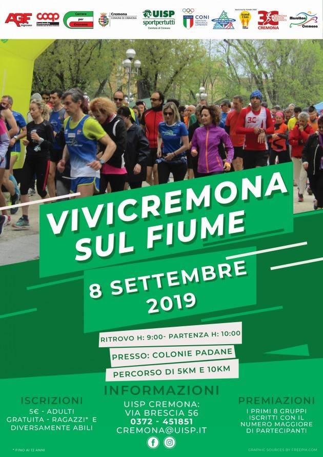 UISP Vivicittà sul fiume a Cremona, corsa ludico motoria di km.5 e km.10  Domenica 8 settembre