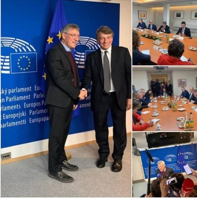 L'incontro Landini (Cgil)  a Sassoli: bisogna cambiare l'Europa