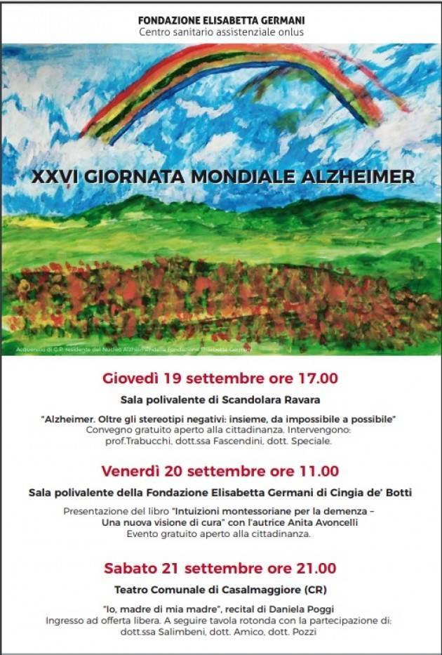 Fondazione Elisabetta Germani. A settembre tre iniziative  celebrative per il mese dell'  Alzheimer