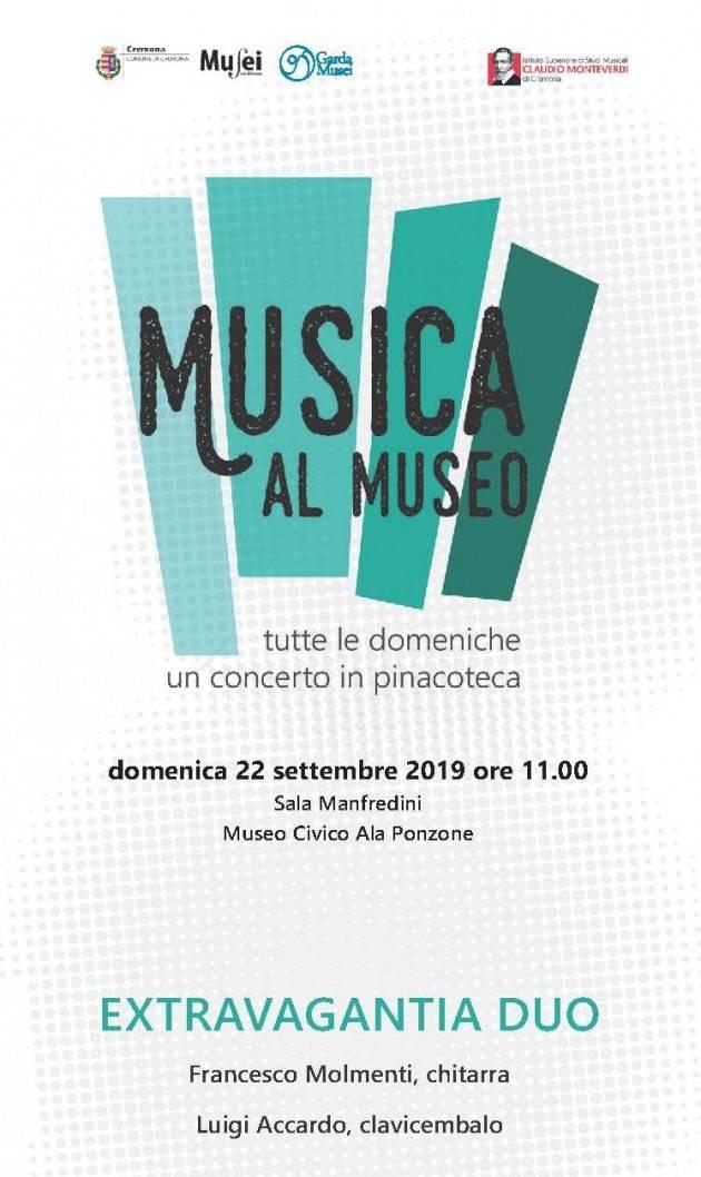 Cremona Domenica 22 settembre torna la rassegna Musica al Museo