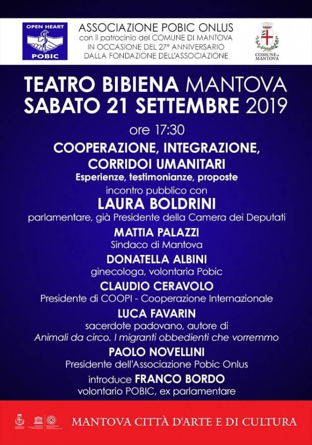 OPEN HEART POBIC Convegno a Mantova con  Laura Boldrini su ' Cooperazione e Corridoi Umanitari'