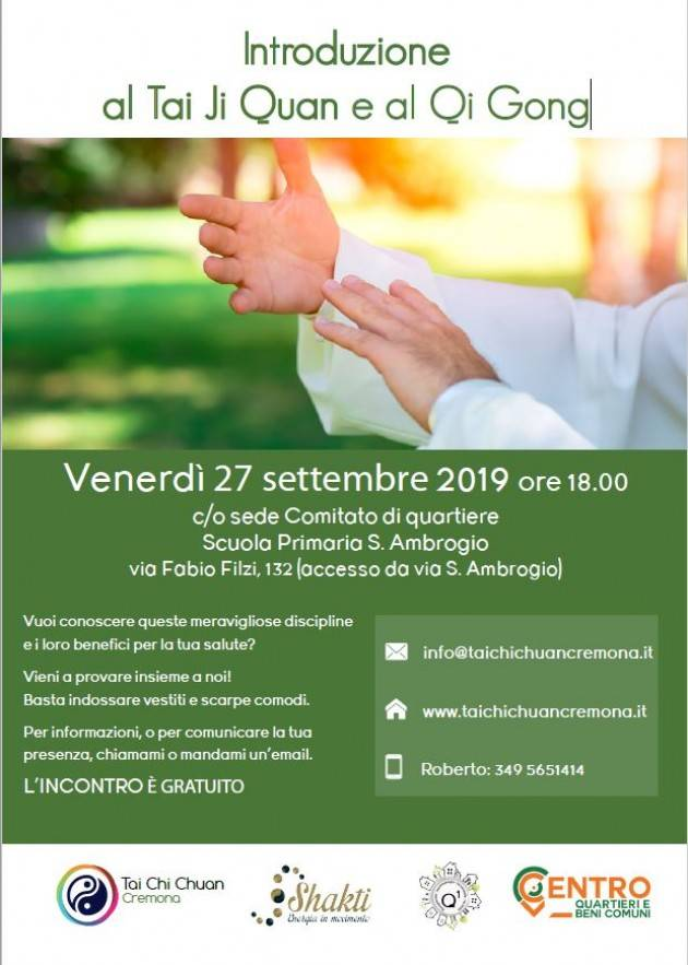 Cremona il Q1 organizza per il 27/9 un incontro sul Tai Ji Quan e al Qi Gong