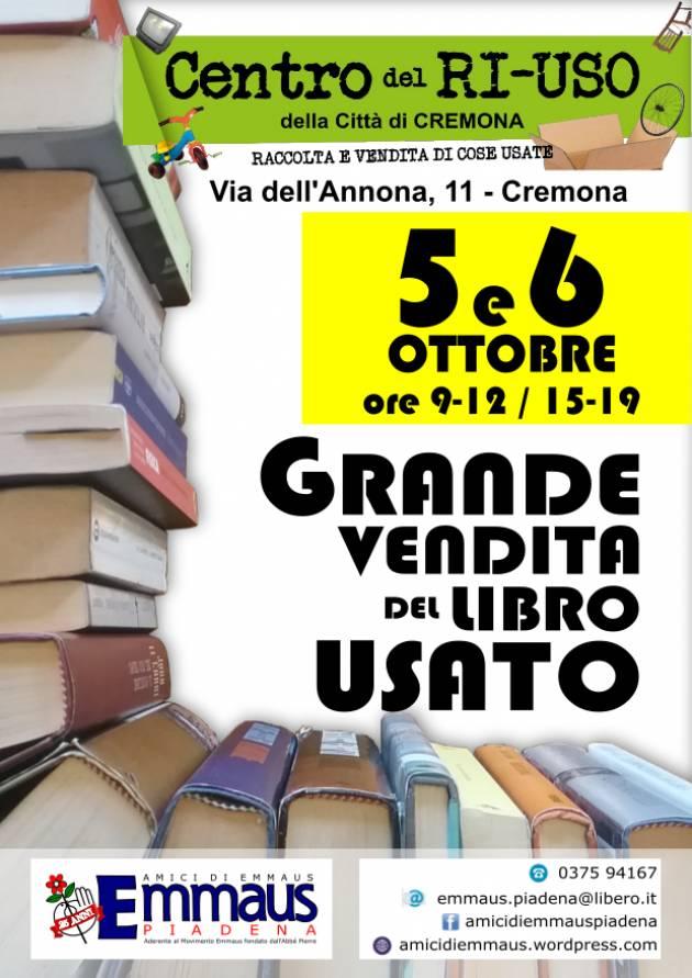 A Cremona con Emmaus GRANDE VENDITA DEL LIBRO USATO AL CENTRO DEL RI-USO il 5 e 6 ottobre