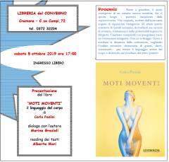 Cremona Moti Moventi della poetessa cremonese Carla Paolini il 5 ottobre alla Libreria del Convegno