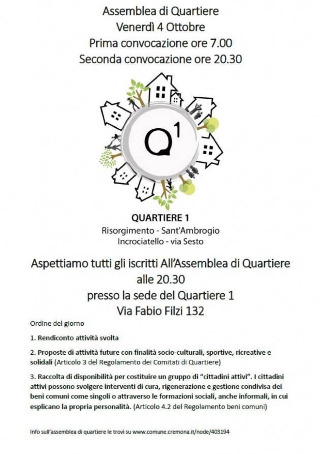 Assemblea aperta SOLO agli iscritti all'Assemblea di Quartiere 1 Cremona