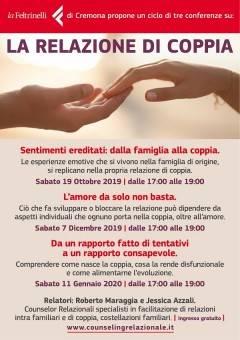 Libreria Feltrinelli di Cremona. PRIMA CONFERENZA del ciclo di 3 incontri su La Relazione di coppia