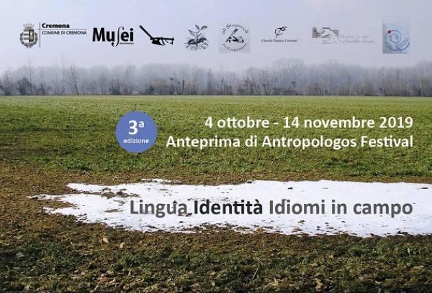 Venerdì 4 ottobre prende il via Anteprima Antropologos
