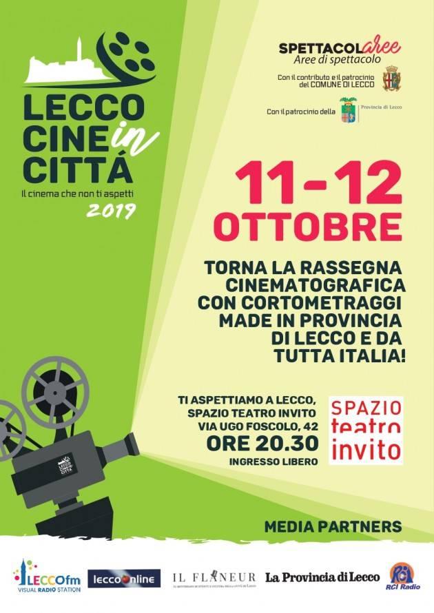 Lecco Cineincittà 2019 L'11 e 12 ottobre allo Spazio Teatro rassegna cinematografica di cortometraggi