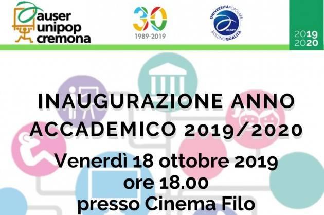 Auser Unipop Cremona: Inaugurazione a.a. 2019/20  il 18 ottobre