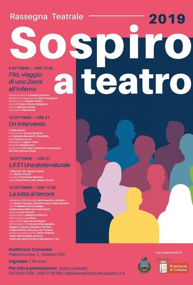 Cremona Sospiro a Teatro . Il 12 ottobre il 2° appuntamento con 'Un intervento'
