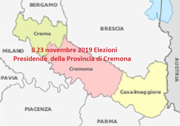 IL 23 NOVEMBRE 2019 NUOVE ELEZIONE DEL PRESIDENTE DELLA PROVINCIA DI CREMONA