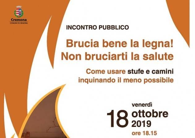 Qualità dell'aria: venerdì 18 ottobre incontro con i cittadini sull'utilizzo di stufe e camini