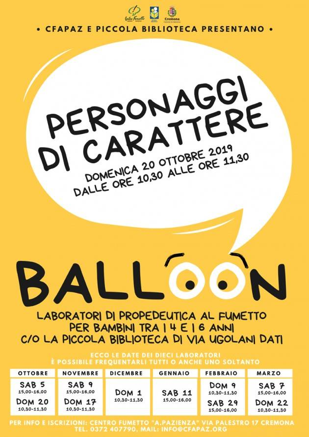 Cremona RITORNA DOMENICA MATTINA IL LABORATORIO BALLOON PER I PIU' PICCINI!