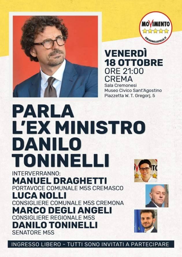 IL M5S di Crema organizza incontro con Danilo Toninelli il 18 ottobre