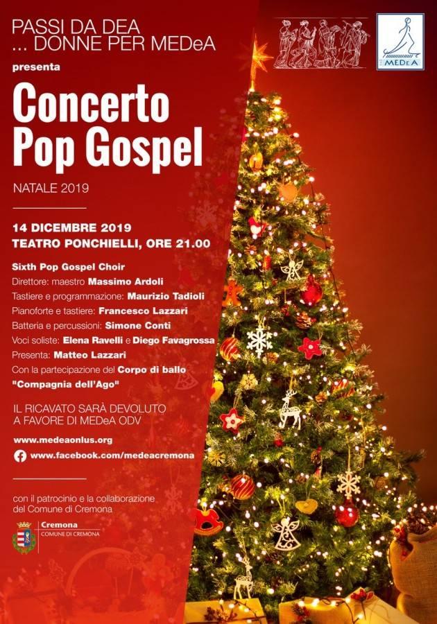 Cremona Teatro Ponchielli sabato 14 dicembre ore 21.00  PASSI DA DEA…DONNE PER MEDeA presenta CONCERTO POP GOSPEL