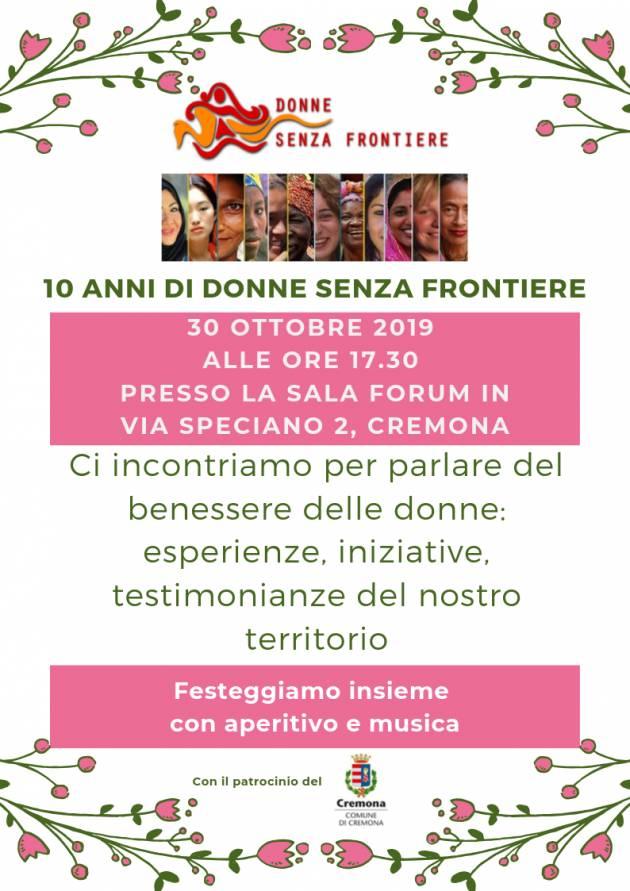 Cremona Donne Senza Frontiere compie 10 anni Momento conviviale il 30 ottobre 2019
