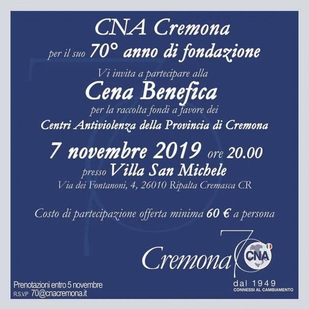 Il 7 novembre Cena benefica per il 70° CNA Cremona