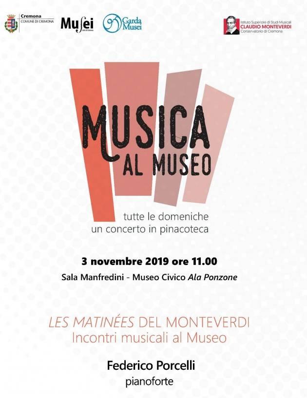 Cremona Musica al Museo, domenica 3 novembre esibizione del Maestro Federico Porcelli