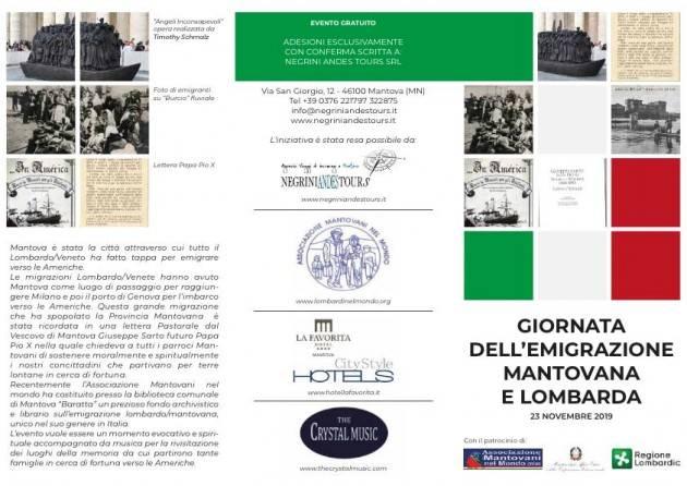 LnM Mantova 23 novembre 2019 PROGRAMMA DEFINITIVO  GIORNATA EMIGRAZIONE MANTOVANA E LOMBARDA