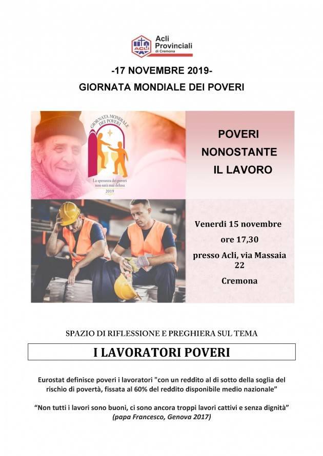 Acli. Giornata mondiale dei poveri