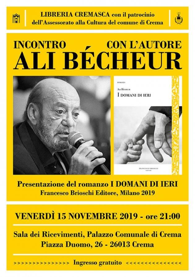 Libreria Cremasca Incontro con l'autore Ali Bécheur venerdì 15 novembre alle ore 21