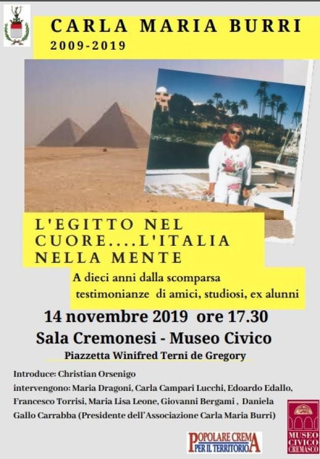 Crema L'Egitto nel cuore...l'Italia nella mente  Conferenza in ricordo di Carla Maria Burri