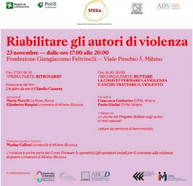 Milano Riabilitare gli autori di violenza