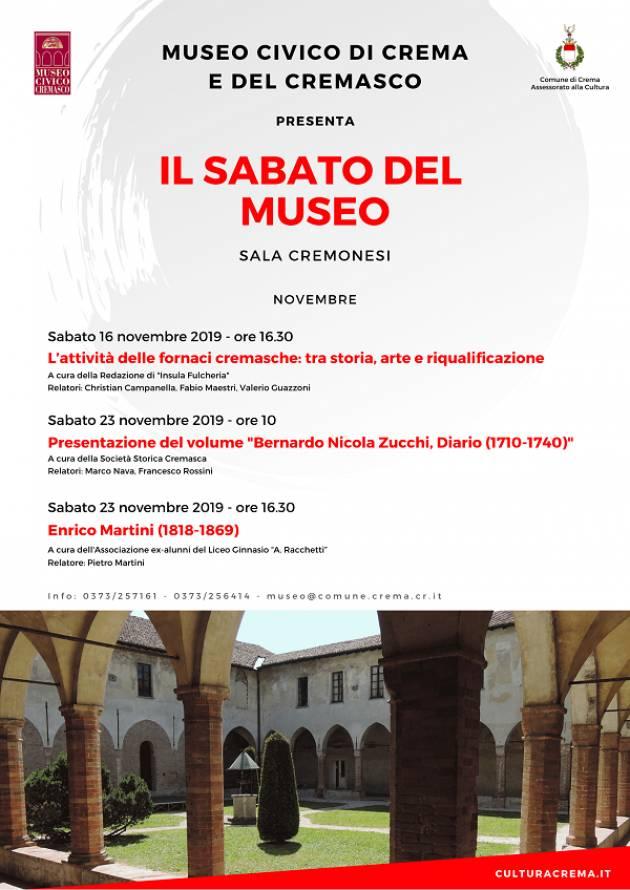 Appuntamenti al museo civico  Crema per questo fine settimana 16-17 novembre